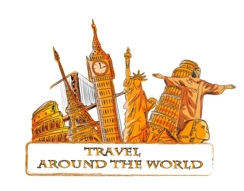 wokoło podróży wektoru światu ilustracja wektor