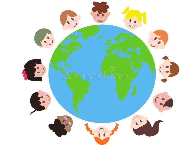 wokoło różnorodnych ziemskich dzieciaków ilustracji