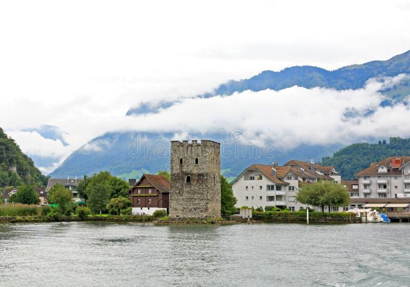 wokoło wzgórza Luzern jeziornej małej wioski zdjęcie royalty free