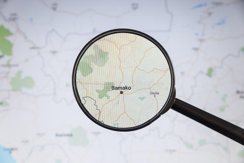 woko?o Bamako Mali rynku ludzi e mapa polityczny u fotografia stock