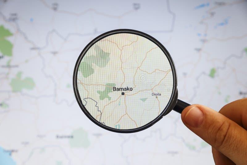 woko?o Bamako Mali rynku ludzi e mapa polityczny u obraz stock