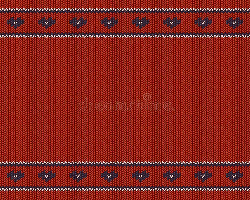 Wol gebreid patroon met blauwe harten op rode achtergrond royalty-vrije illustratie