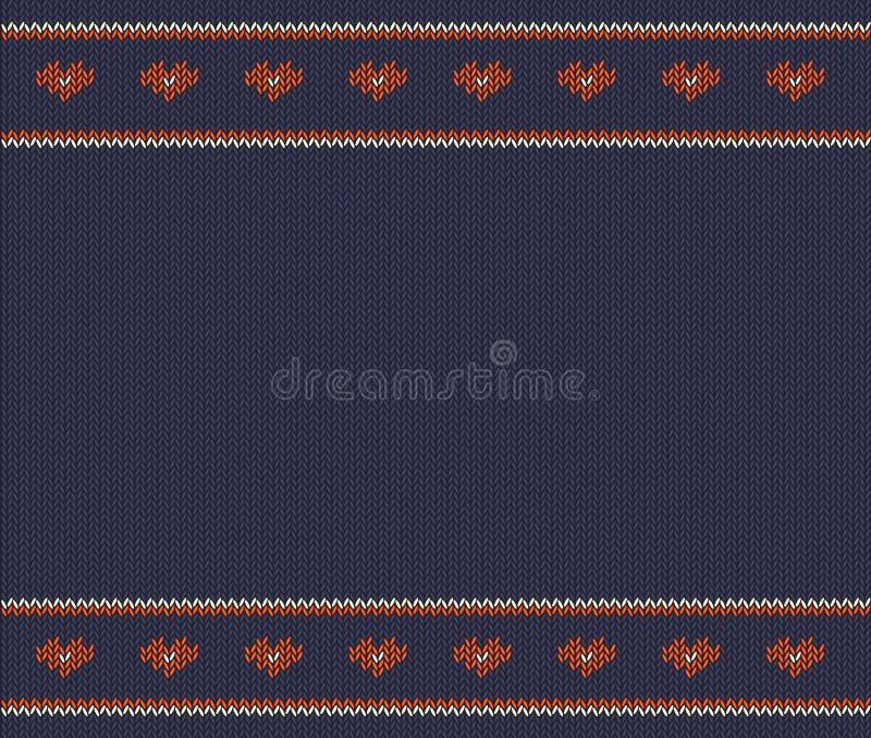 Wol gebreid patroon met rode harten op blauwe achtergrond stock illustratie