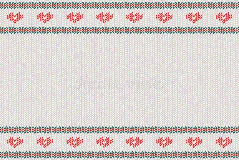Wol gebreid patroon met rode harten op witte achtergrond stock illustratie