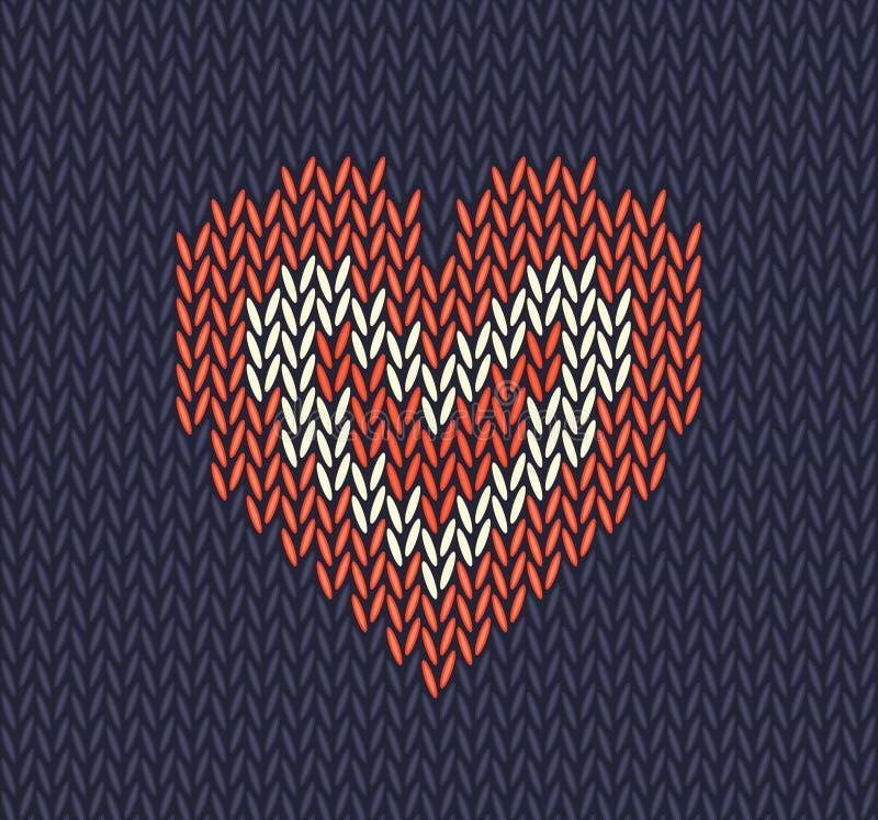 Wol gebreid patroon met rood hart op blauwe achtergrond royalty-vrije illustratie