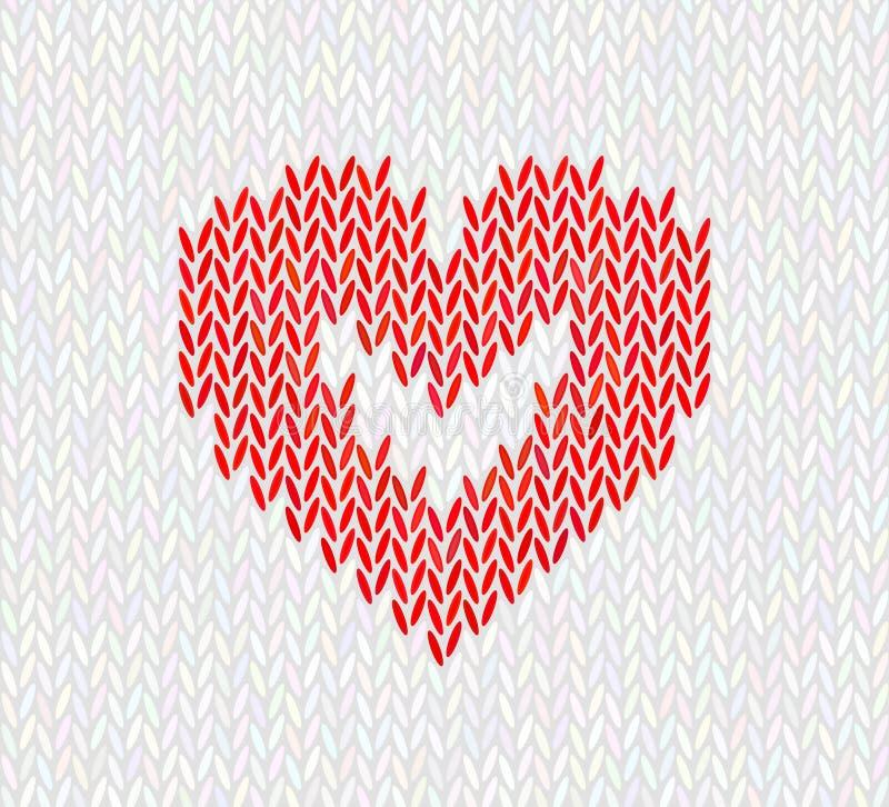 Wol gebreid patroon met rood hart op witte achtergrond royalty-vrije illustratie