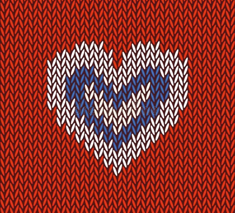 Wol gebreid patroon met wit hart op rode achtergrond stock illustratie