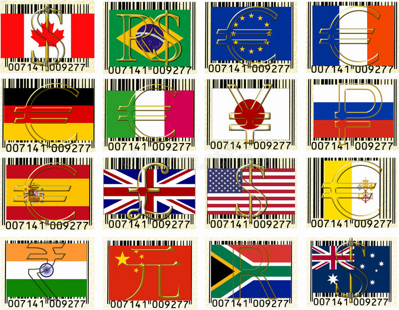Wold currencies. Currencies of the world collage royalty free illustration