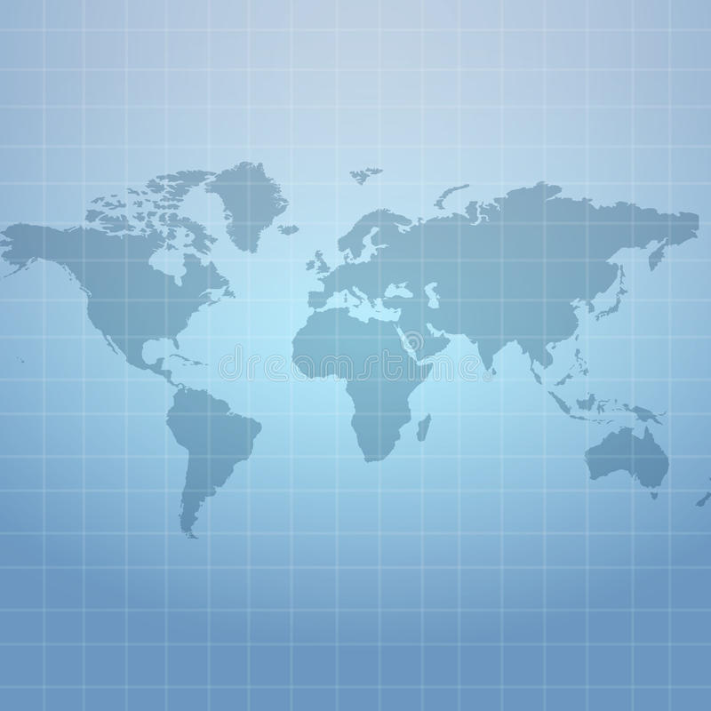 Wold map on soft blue net background vector illustration