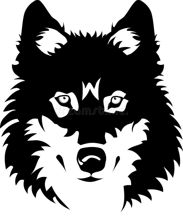 Wolf. Vector illustration of wolf face black and white tattoo