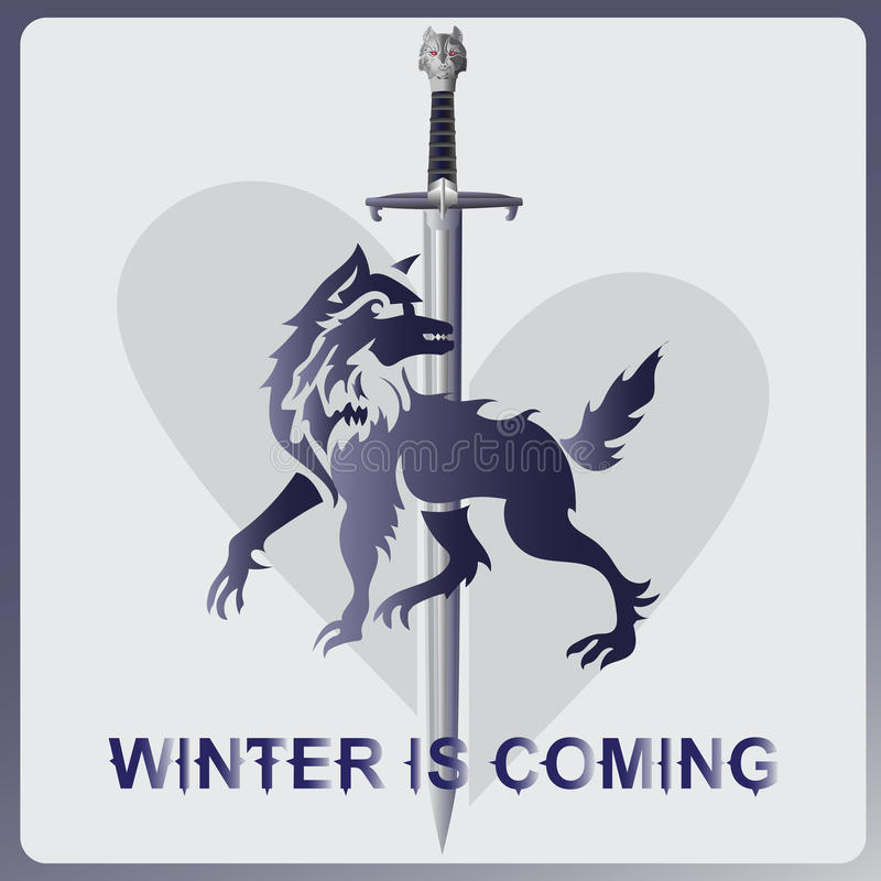 Free Wolf, A Sword And Heart. WINTER IS COMING Royalty Free Stock Photography - 90454817