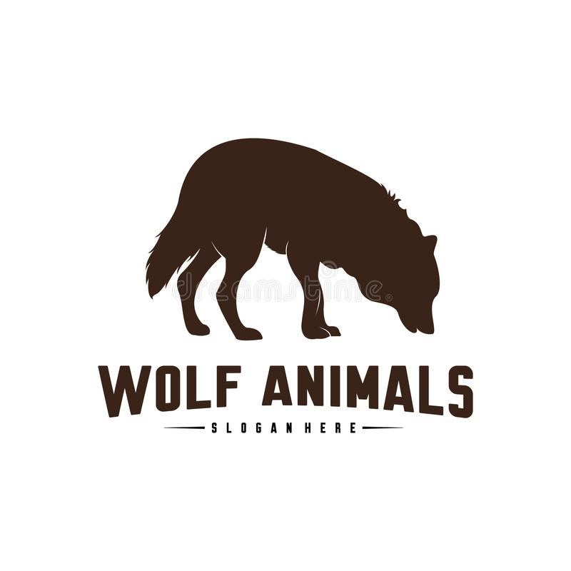 Wolf Abstract Logo Design Vector Illustration. Wolf Logo Template. Simple flat style. Icon Symbol royalty free illustration