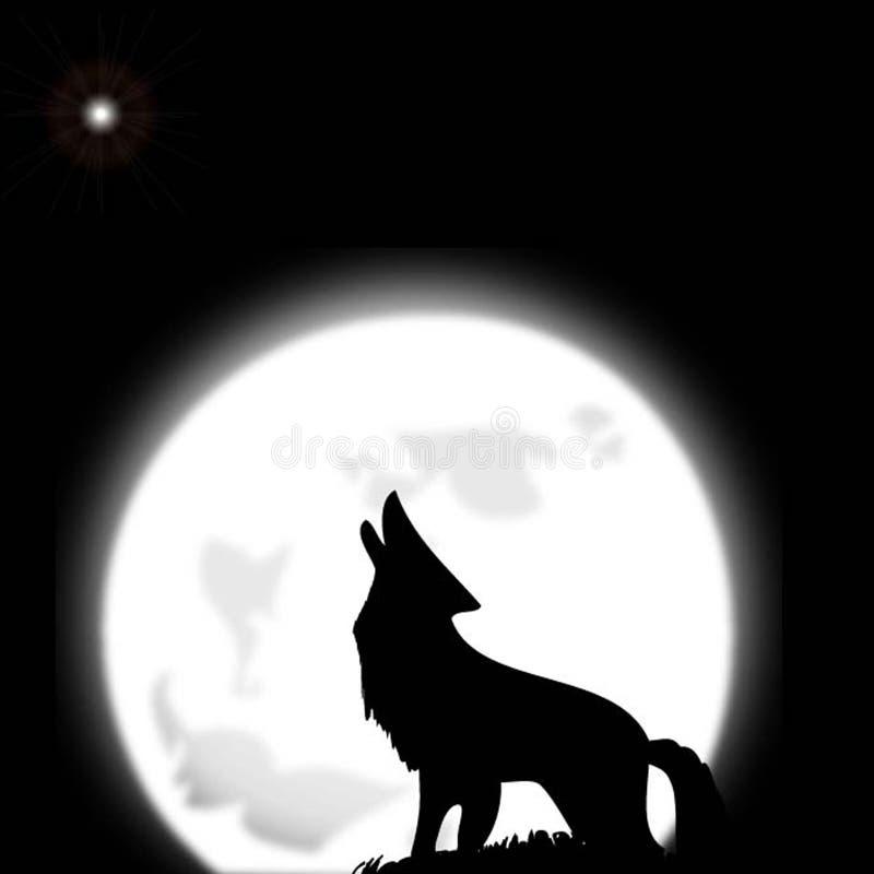 Wolf & maan royalty-vrije stock fotografie