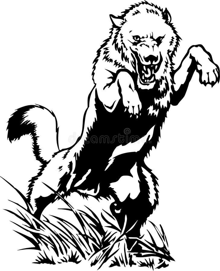 Wolf Attacking Illustration stock illustratie