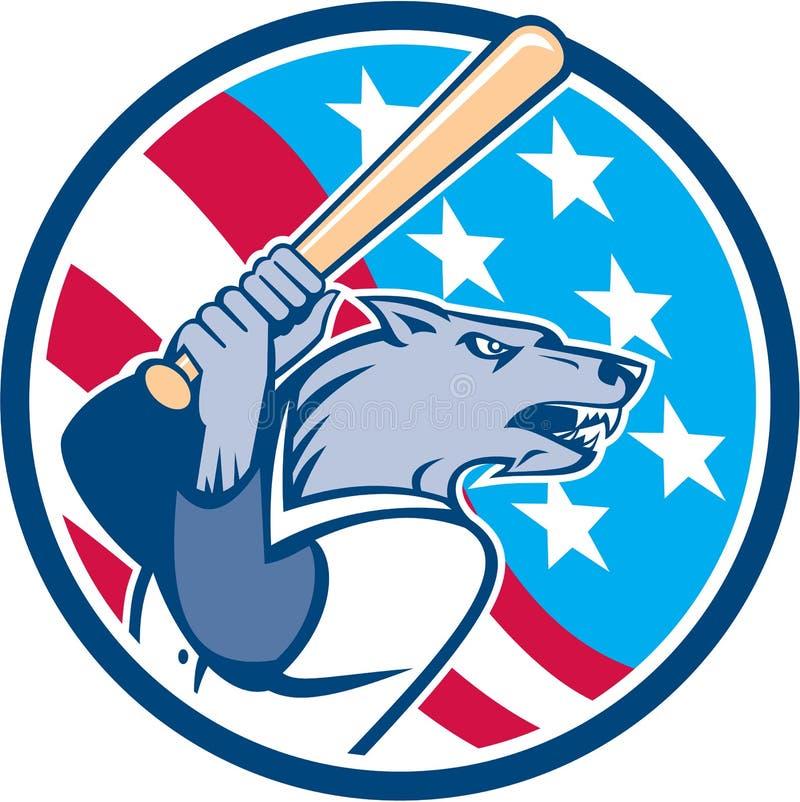 Wolf Baseball With Bat USA Stars Circle Retro vector illustration