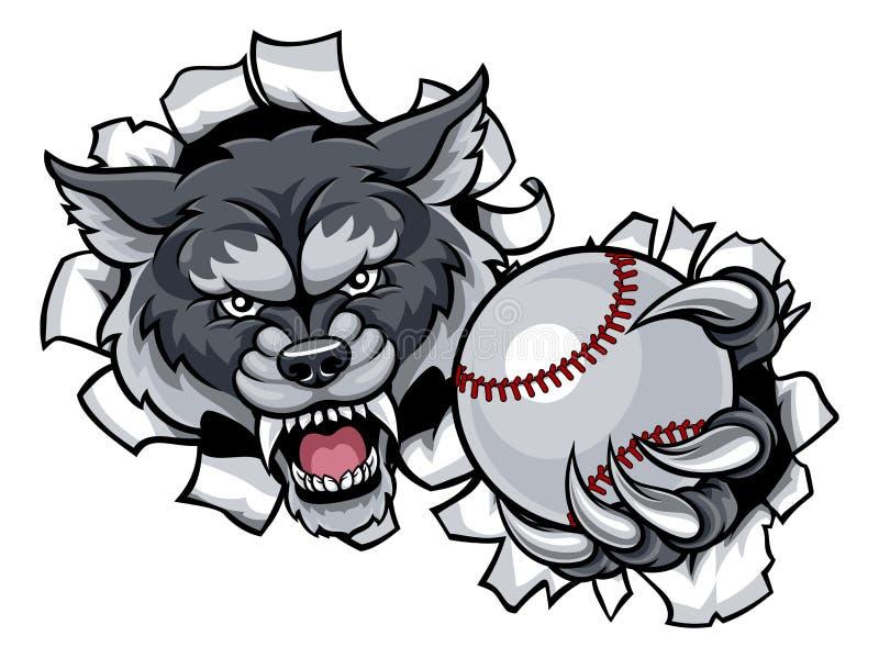 Wolf Baseball Mascot Breaking Background royalty-vrije illustratie