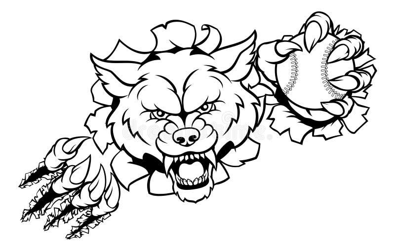 Wolf Baseball Mascot Breaking Background vector illustratie