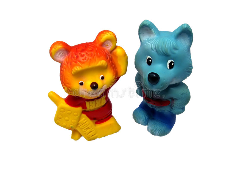 Wolf and bear toys royalty free stock image