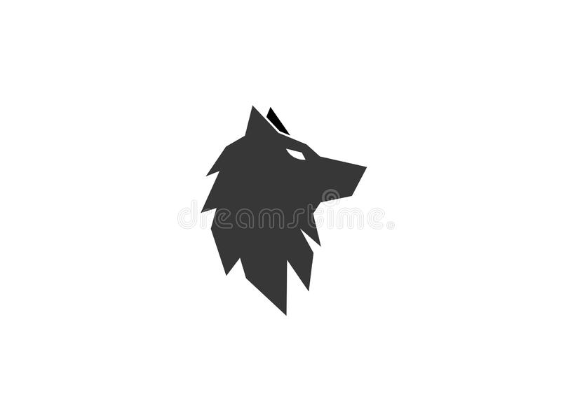 Wolf black head or fox for logo. Esign illustration, animal icon royalty free illustration
