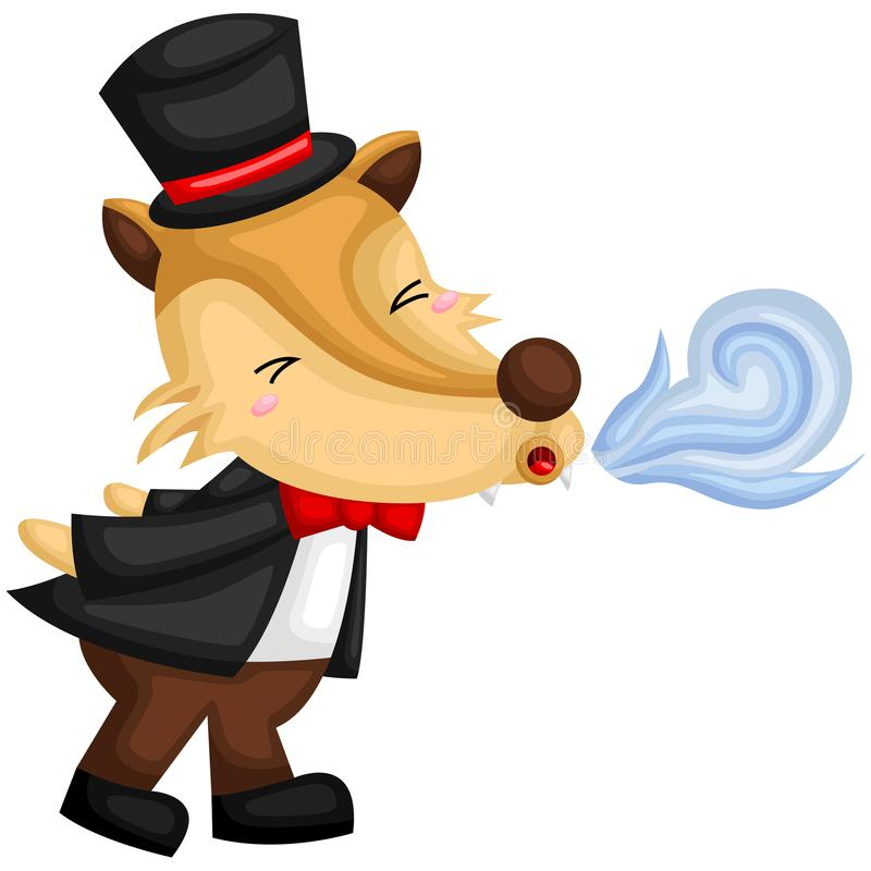 The wolf blowing in the three little pigs story stock illustration