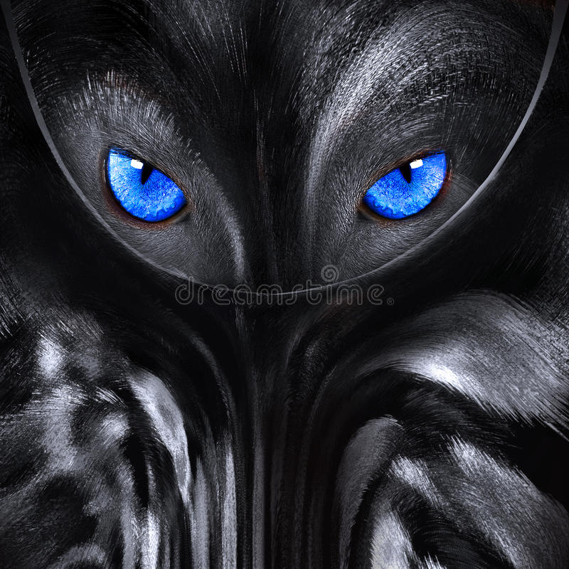 Wolf with blue eyes abstract illustration royalty free stock photography
