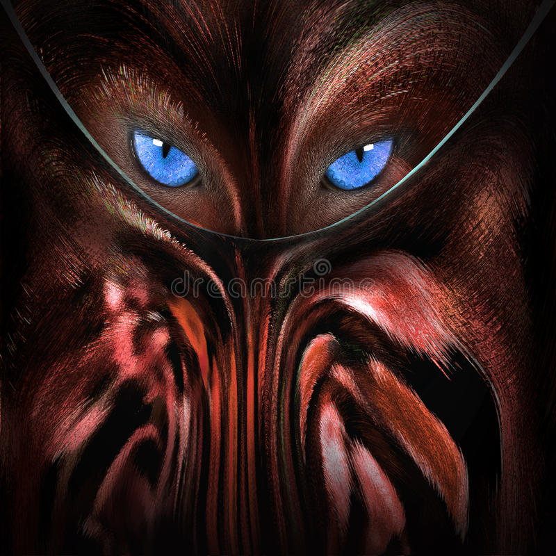 Wolf with blue eyes abstract stock photography