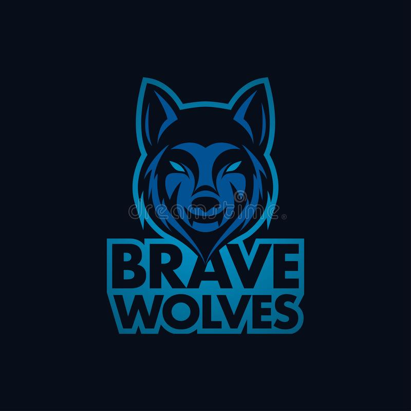 Wolf Bold Mascot of Logo For Your Squad of Bedrijf stock illustratie