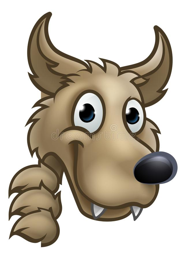 Wolf Cartoon Character Mascot Peeking em torno do sinal ilustração do vetor