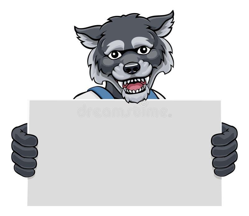 Wolf Cartoon Mascot Handyman Holding Sign royalty free stock image