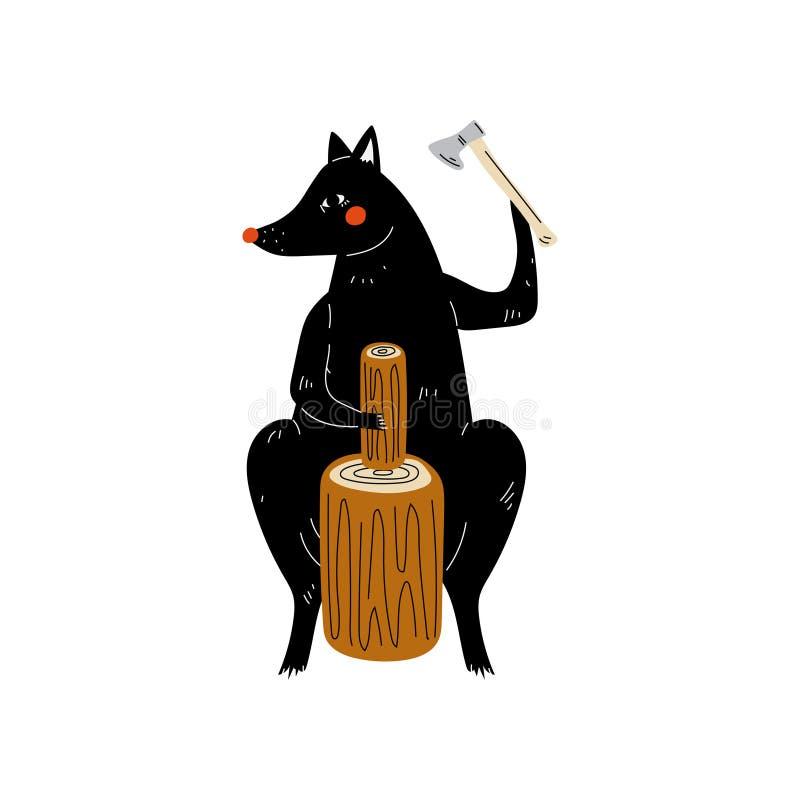 Wolf Chopping Wood avec la hache, caractère animal ayant augmenter le voyage d'aventure ou l'illustration de vecteur de vacances illustration stock
