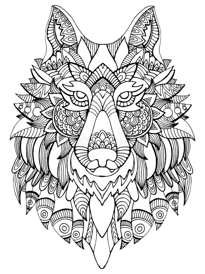 download wolf coloring book for adults vector illustration stock vector image 80313588 - Wolf Coloring Book