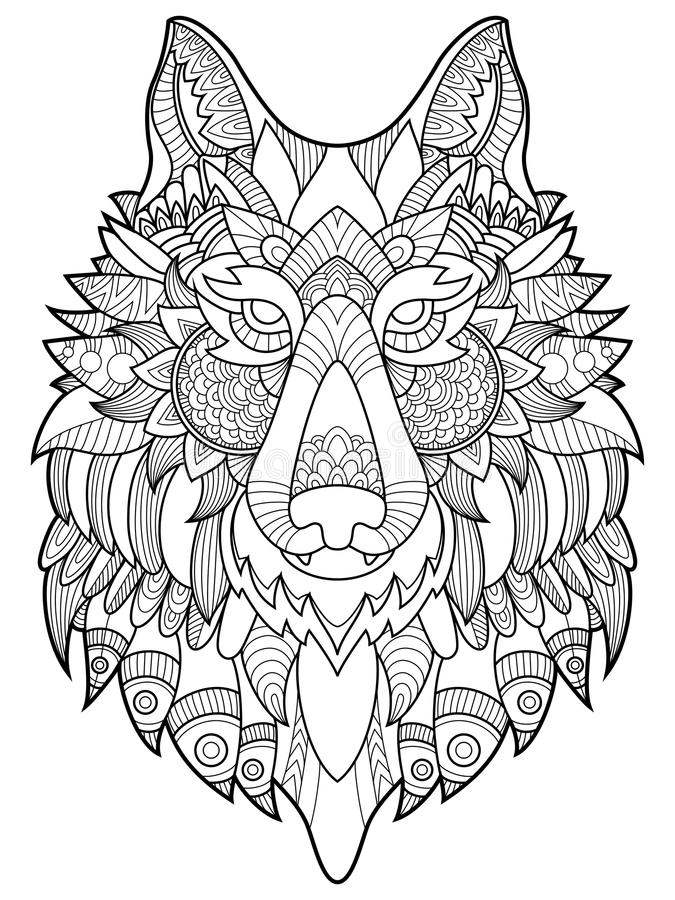Wolf coloring book for adults vector illustration. Anti-stress coloring for adult. Tattoo stencil. Zentangle style. Black and white lines. Lace pattern vector illustration
