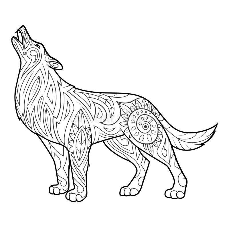 download wolf coloring book for adults vector stock vector image 70288578 - Wolf Coloring Book