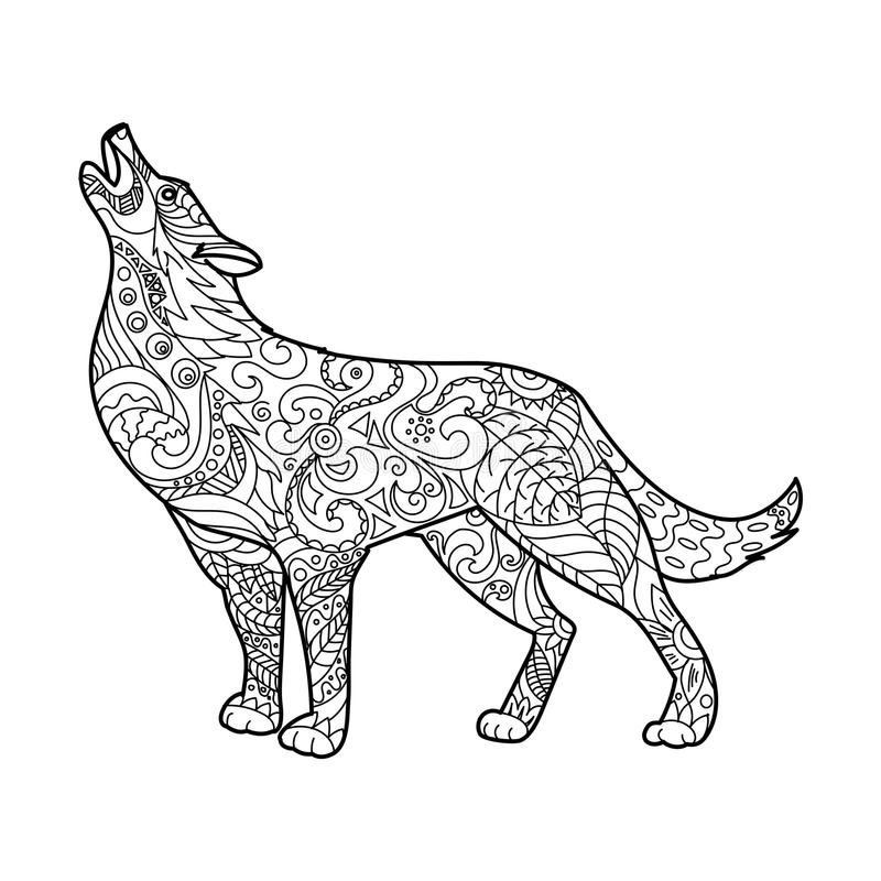 Wolf coloring book for adults vector. Illustration. Anti-stress coloring for adult. Zentangle style. Black and white lines. Lace pattern vector illustration