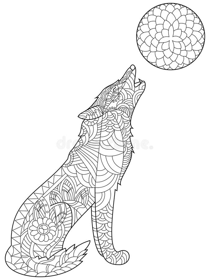 Wolf Coloring Vector For Adults Stock Vector