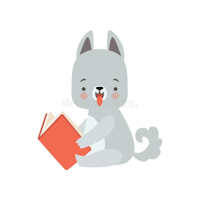 Wolf Cub Reading Book lindo, carácter animal elegante adorable que se sienta con el ejemplo del vector del libro stock de ilustración