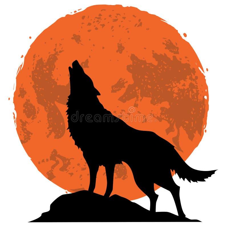 Wolf die bij de maan in de middernacht huilen royalty-vrije illustratie
