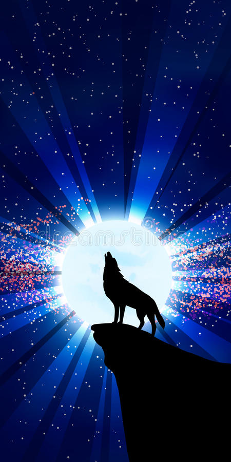Wolf die bij de maan huilt stock illustratie