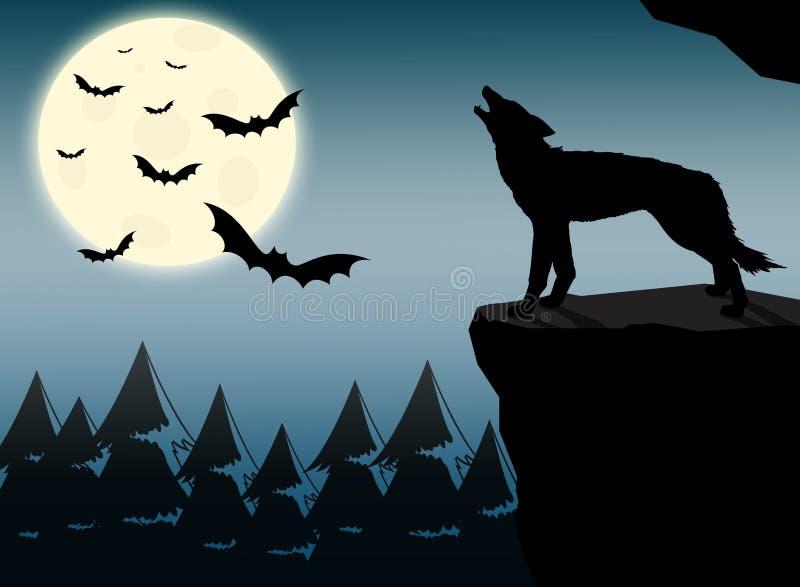 Wolf die bij volle maan huilen stock illustratie