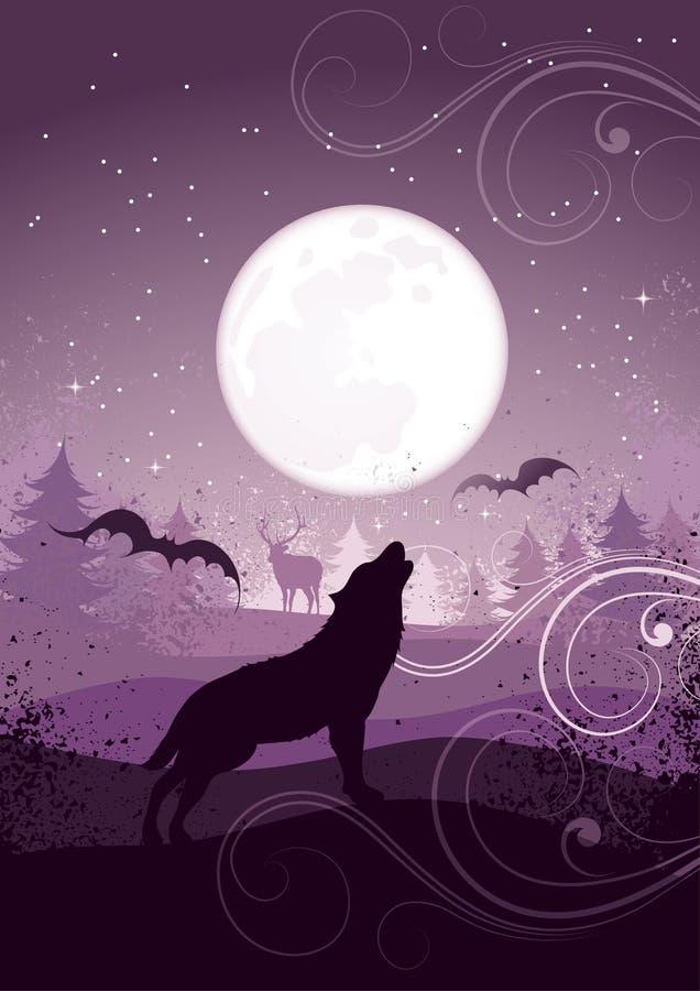 Wolf die bij volle maan huilt royalty-vrije illustratie