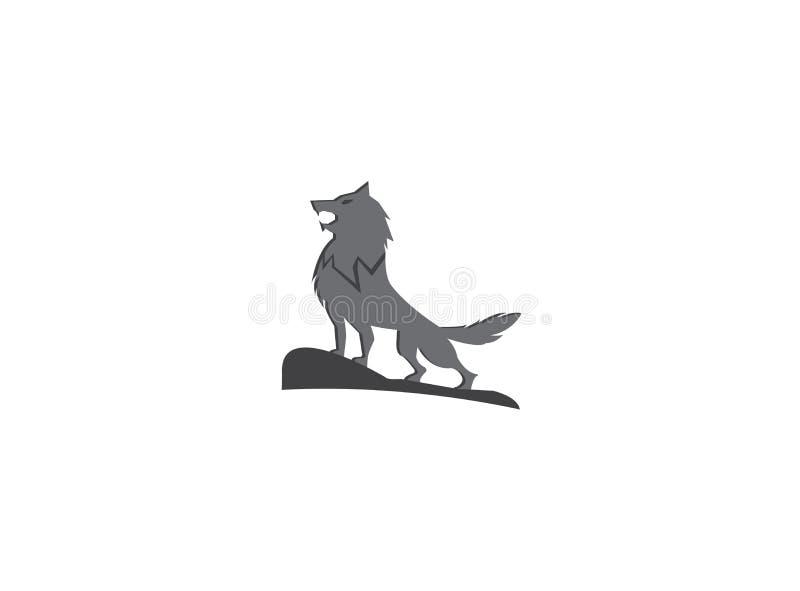 Wolf die op de hoogste berg voor het ontwerp van de embleemillustratie huilen royalty-vrije illustratie