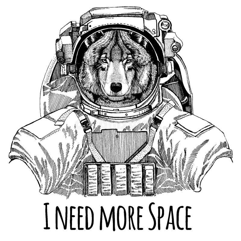 Wolf Dog Astronaut Costume d'espace Image tirée par la main de lion pour le tatouage, T-shirt, emblème, insigne, jardin d'enfants illustration de vecteur