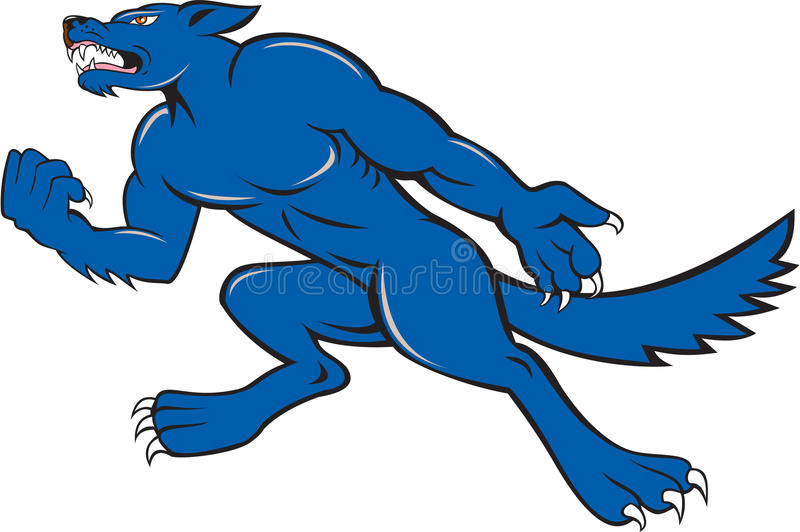 Wolf Dog Clenching Fist Cartoon. Illustration of an angry wild dog viewed from side clenching fist on isolated background done in cartoon style stock illustration