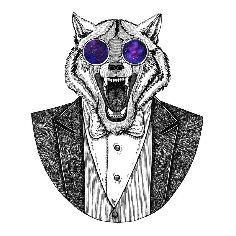 Wolf Dog Hipster animal Hand drawn image for tattoo, emblem, badge, logo, patch, t-shirt stock illustration