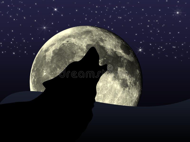 Wolf door volle maan stock illustratie