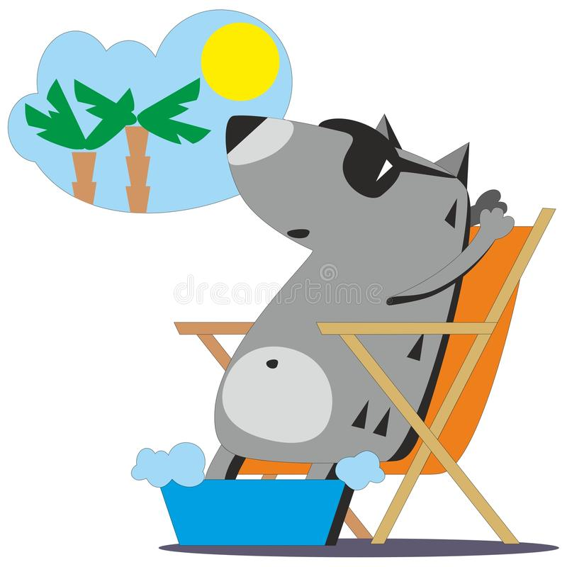 Wolf dreaming about vacation 04 royalty free illustration