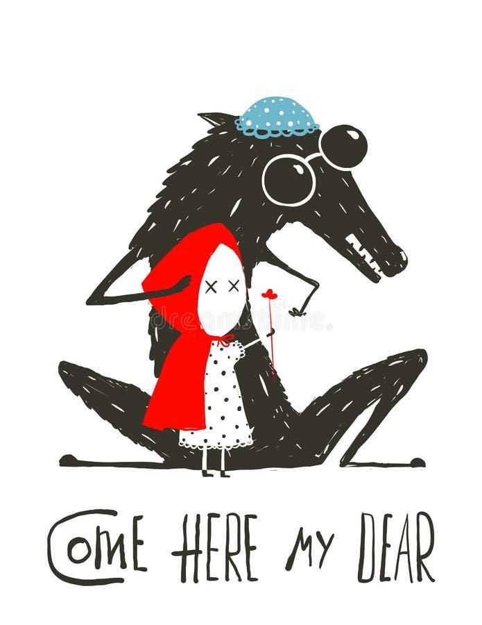 Wolf Dressed som en farmor och ett litet rött vektor illustrationer