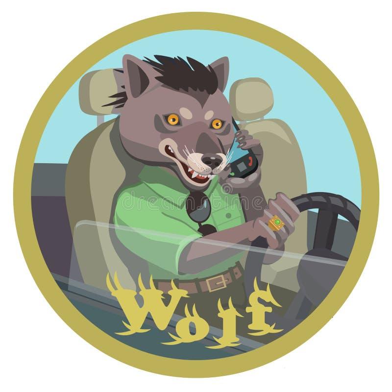 Wolf drijven die op een mobiele telefoon spreken royalty-vrije stock foto