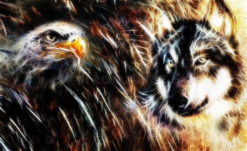 Wolf and eagle color painting, feathers background, multicolor collage illustration. fractal effect. stock illustration