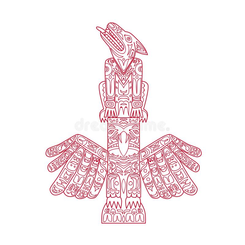 Wolf And Eagle Totem Pole Doodle Art Stock Vector - Illustration of ...